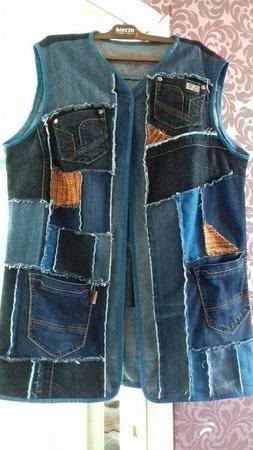 """Фото. Жилет с """"карманАми"""", схулиганенный из старых джинсов!  Автор работы - Любушка-голубушка"""