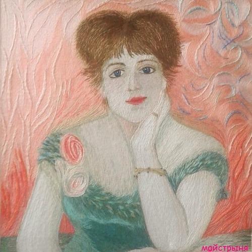 Фото. Портрет Жанны Самари по картине Огюста Ренуара. Автор работы - майстрыня