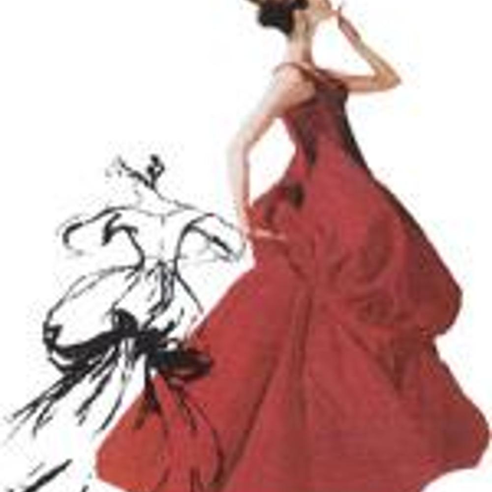 Чарлз Джеймс. Платье-баллон в стиле Второй империи. Эскиз Антонио Лопеса.
