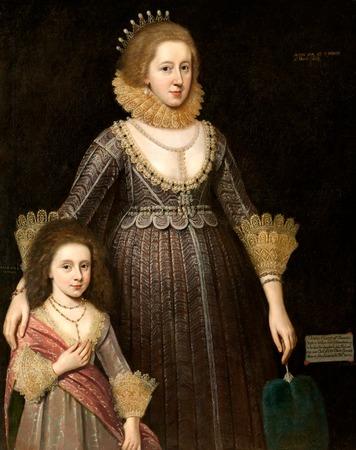 Фото. Пауль ван Сомер (1577-1621). Портрет леди Кавендиш с дочерью Энн.