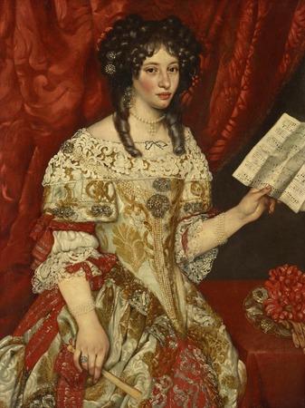 Фото. Якоб Фердинанд Вут (1639-1689)  Портрет дамы с нотным листом