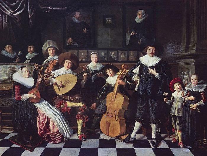 Фото. Ян Минсе Моленар (1610-1668).  Автопортрет с семьёй.