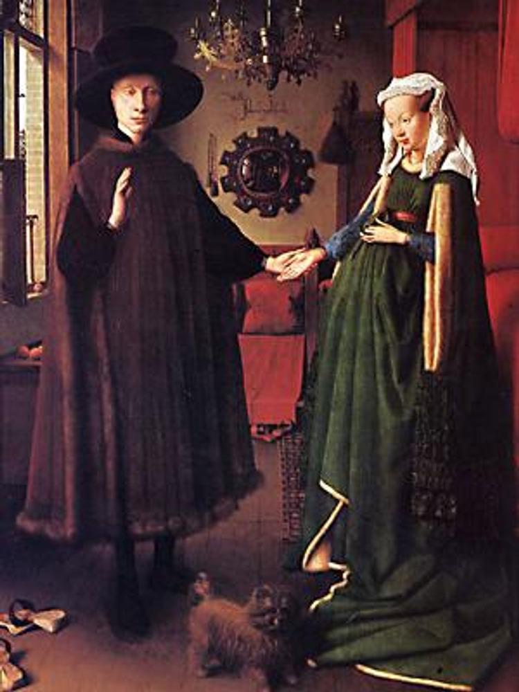 """Ян Ван Эйк. Портрет четы Арнольфини, 1434 г. Прекрасно представлен """"готический силуэт"""" платья дамы."""