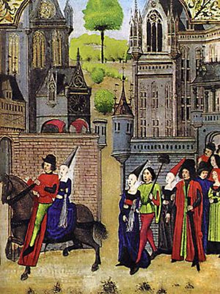 Французская миниатюра, 15 в. На этой иллюстрации изображена свадебная процессия. На невесте и ее подружке хорошо видны платья-котарди и энены с тончайшей шелковой вуалью в качестве фаты.