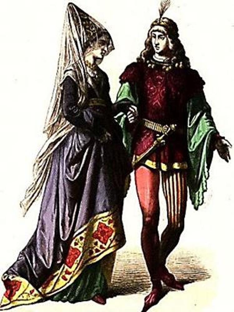 """Гравюра из немецкой книги 19 в. """"Zur Geschichte der Kostum"""" . На этой гравюре хорошо видна фата из тончайшей шелковой вуали."""