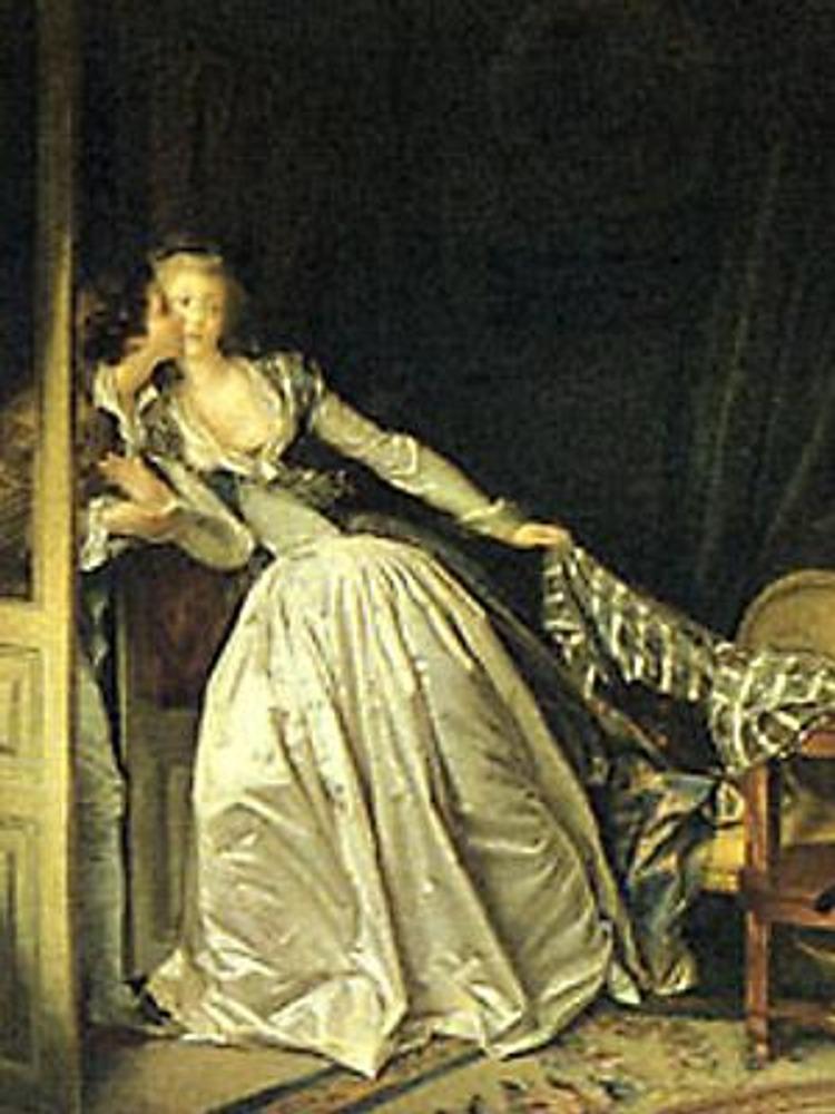 Ж.-О.Фрагонар. Поцелуй украдкой, 1780-е гг. Туалет в серебристо-жемчужных тонах.