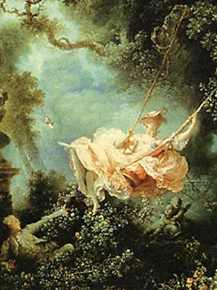 Ж.-О.Фрагонар. Счастливые возможности качелей, 1768. Прекрасный пример наиболее модного в тот период кораллового платья.