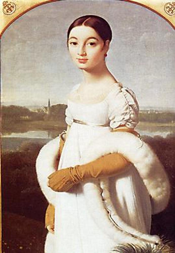 Ж.-О.-Д.Энгр. Мадемуазель Ривьер, 1805. Типичное платье эпохи Амир - очень высокая талия, маленький рукавчик, струящаяся полупрозрачная ткань белого цвета, белое меховое боа.