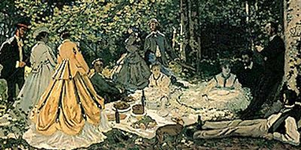 Клод Моне. Завтрак на траве, 1865. Туалет дамы в желтом прекрасно иллюстрирует влияние историзма на костюм этого периода, он украшен подборами и контрастными темно-зелеными патами, явно инспирированными эпохой Рококо.