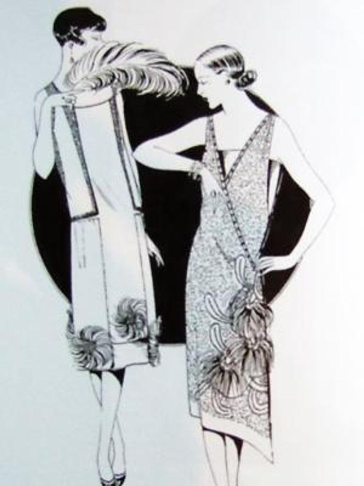"Фото, 1926 г. Модели дома ""Итеб"". Рисунки из журнала ""Пари-элегант""."