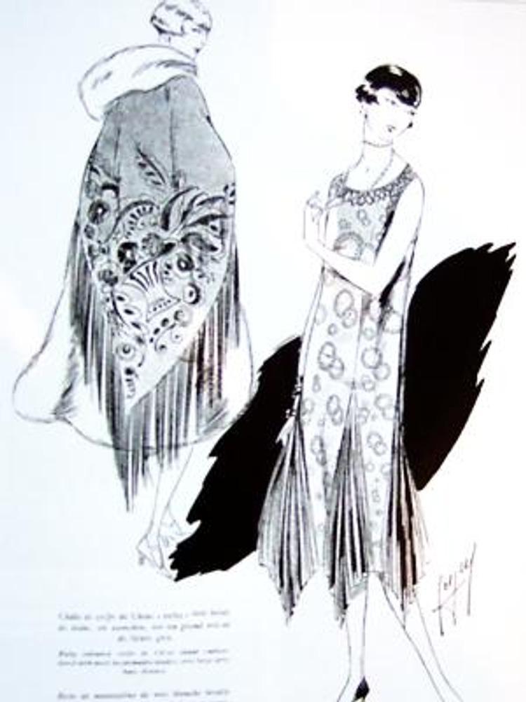 """Фото. Париж, 1925 г. """"Прелестные вышивки Китмира"""". Рисунок из журнала """"Жардан де мод""""."""