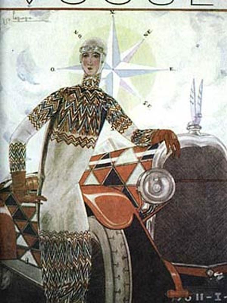 """США. 1925 г. Обложка журнала """"Вог"""" с рекламой """"оптического платья"""" от Сони Делоне."""