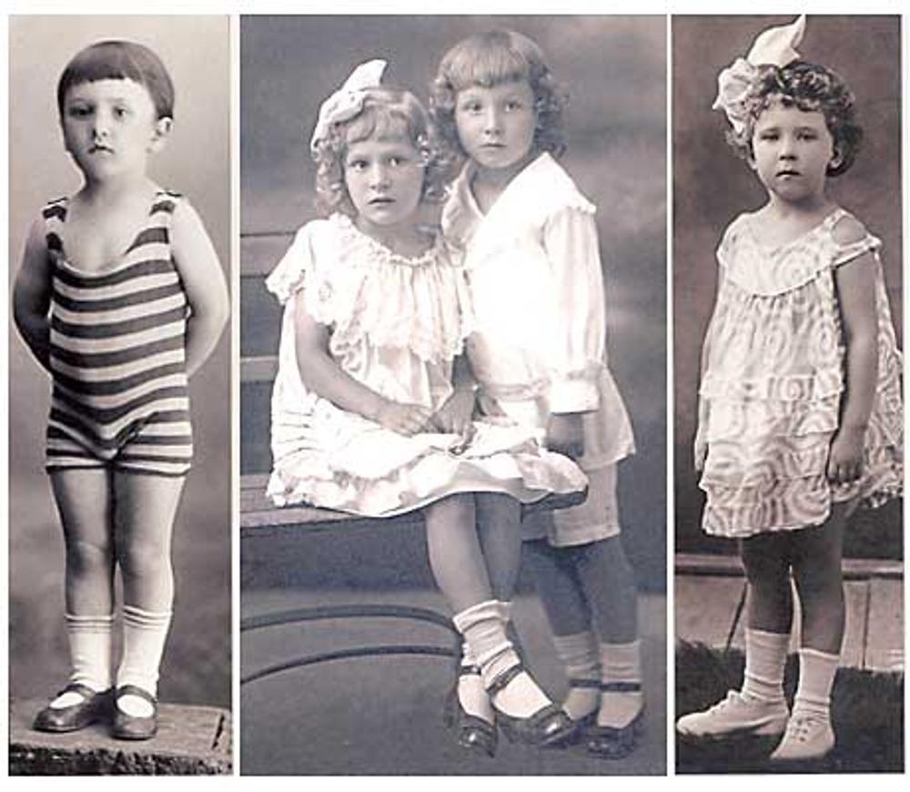 Фото. 1920-1925г. Слева: девочка в коротком платье из набивного ситца и полотняной обуви; в центре: Маргарита и Анатолий Бахваловы в дорогих нарядных костюмах; справа: 4-х летний мальчик в вязаном полосатом трико.