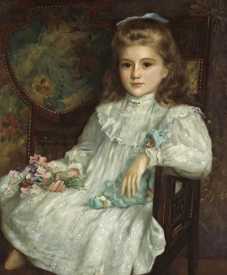 "Фото. John Shirley Fox (British, 1860-1939) ""A portrait of a young girl in a white dress holding her doll and a posy of sweet peas"" 1900"