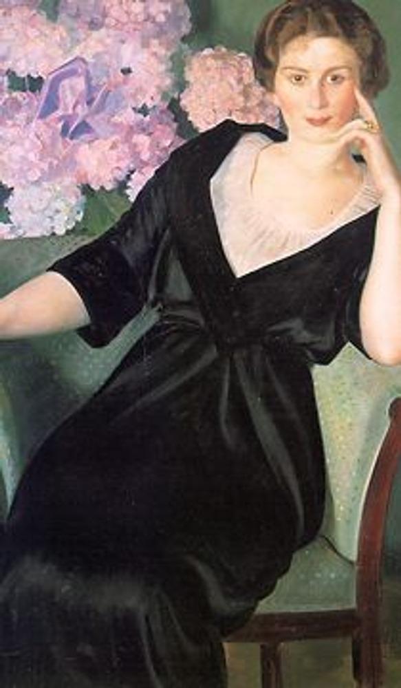 Фото. Б. Кустодиев. Портрет Ренэ Нотгафт. 1914.