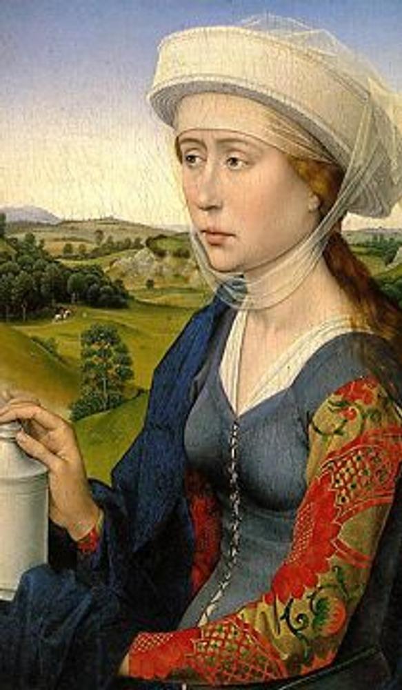 """Фото. Рогир ван дер Вейден. Мария Магдалина (триптих """"Христос с мадонной и святыми"""", правая створка). Ок.1452-1453."""