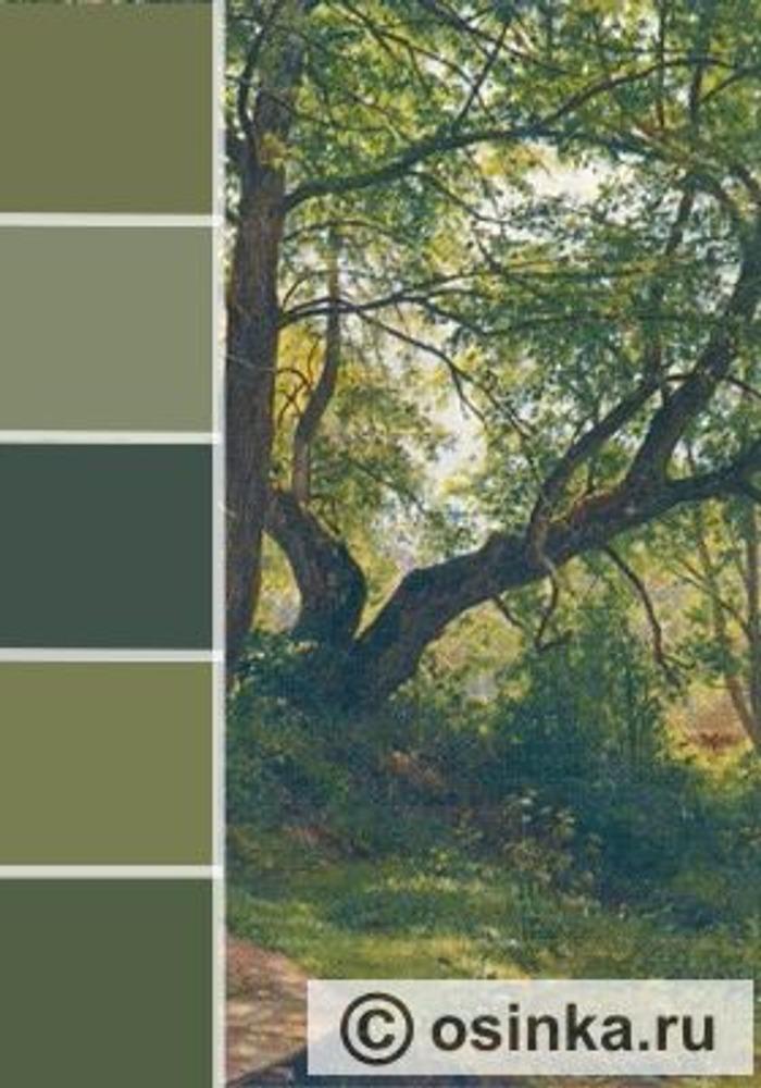 """Фото. Мы помним, что лес - зеленый. Но зелень леса, на самом деле, состоит из десятков оттенков зеленой палитры! На фото справа - фрагмент картины Шишкина """"Старые липы"""", слева - некоторые из нюансов зеленого, использованные художником в картине."""