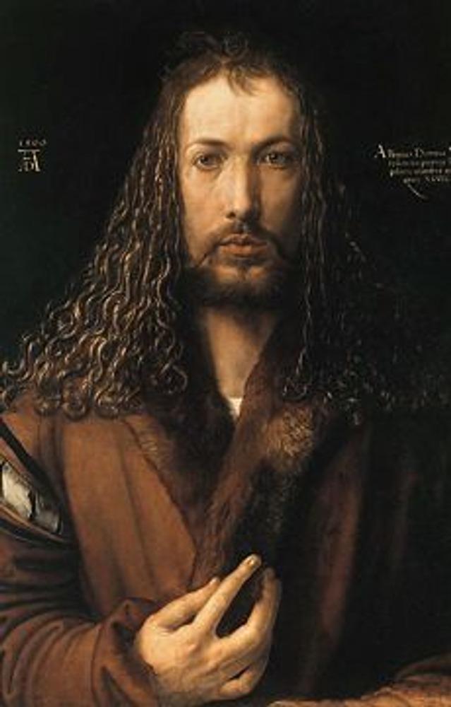"""Фото. Фрагмент картины Альбрехта Дюрера """"Автопортрет Дюрера в зрелые годы"""", 1500."""