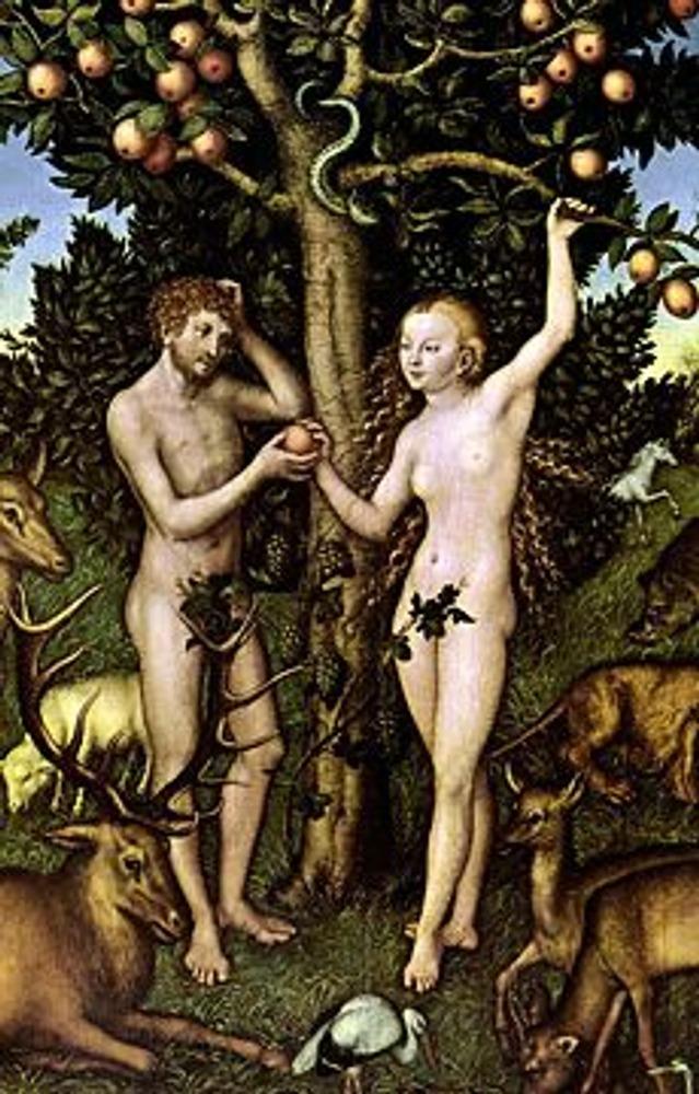 """Фото. Фрагмент картины Лукаса Кранаха """"Адам и Ева"""", 1526."""