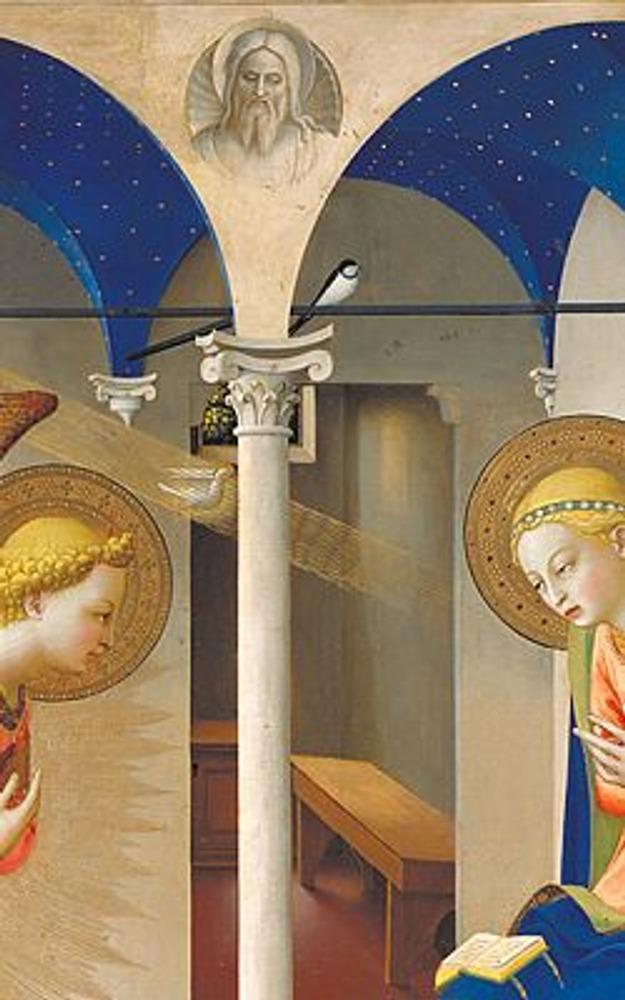 Фото. Фрагмент из центра картины. На заднем плане видна скромная комната, вверху изображен Бог-отец, на перекладине весенняя ласточка, а в золотом луче мы видим символичного голубя.