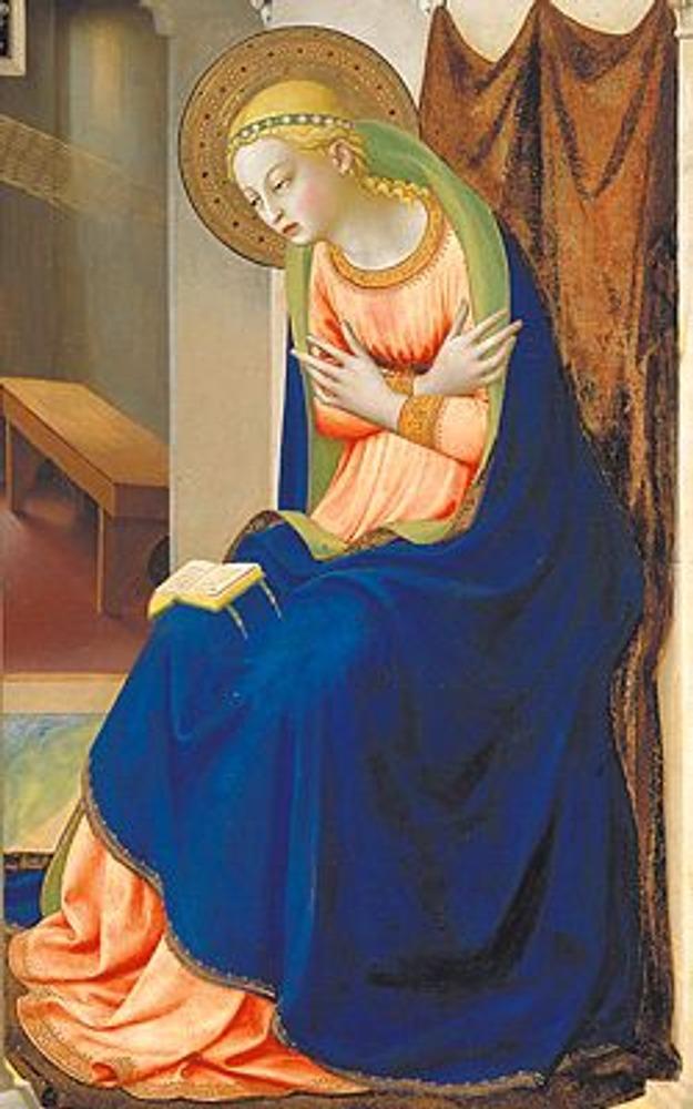 Фото. Фрагмент из правой части картины. Дева Мария изображена с символичной книгой на коленях, хотя в то время книг еще не было.