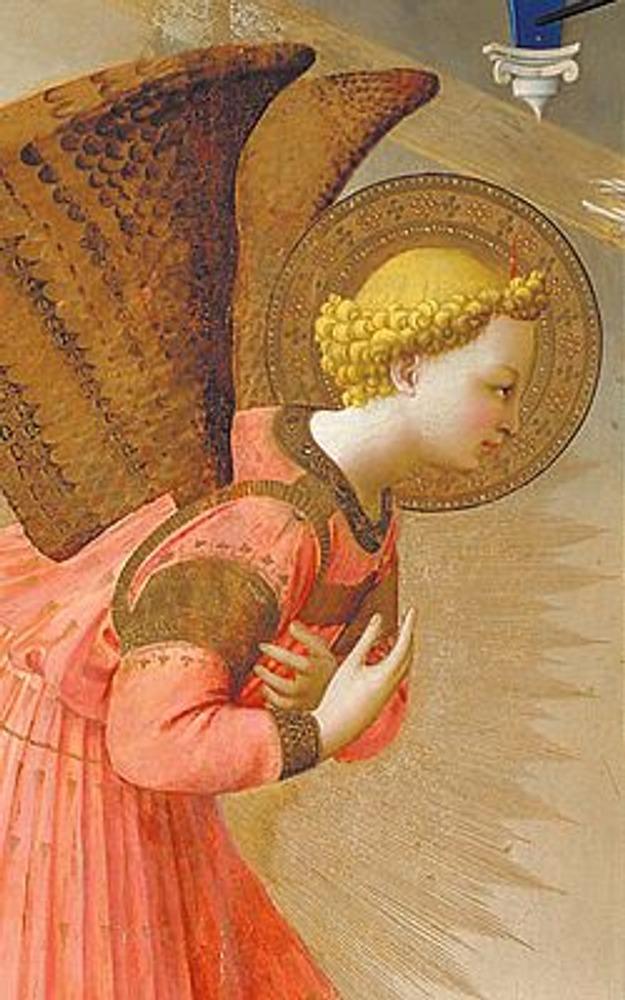 Фото. Фрагмент из центра картины: Ангел сообщает Марии благую весть.