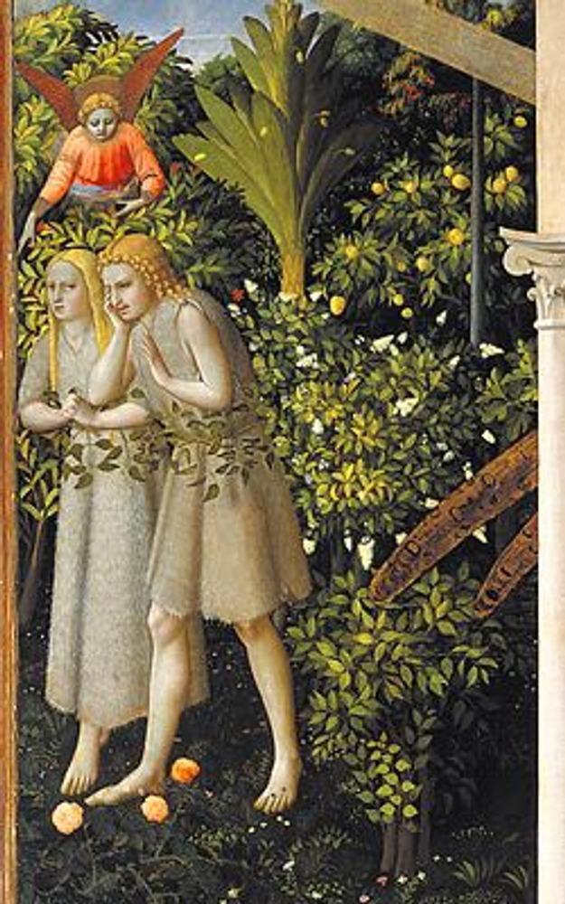 Фото. Фрагмент из левой части картины: Адам и Ева, изгнанные из рая согласно Ветхому Завету.