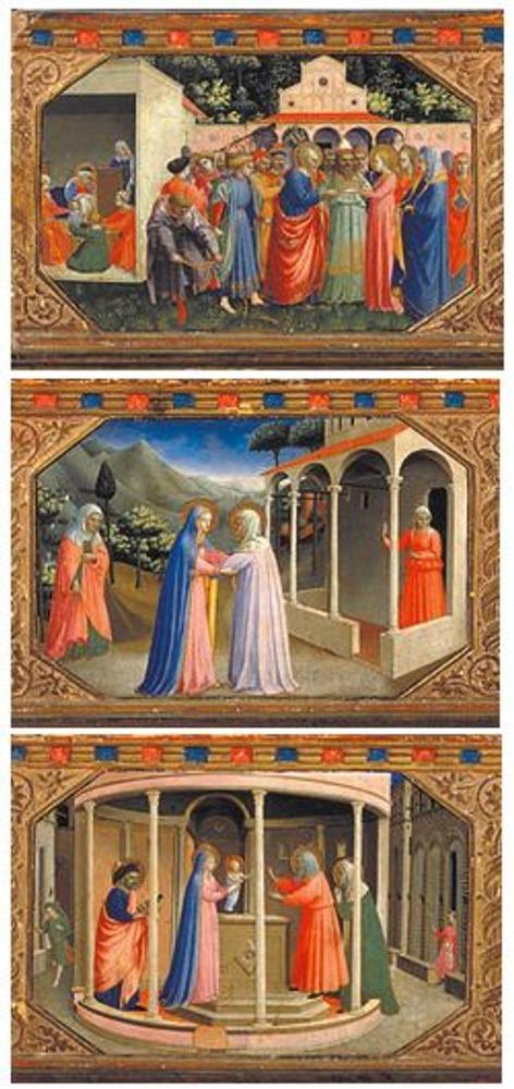 Фото. Фрагменты из нижней части картины со сценами из жизни Девы Марии.