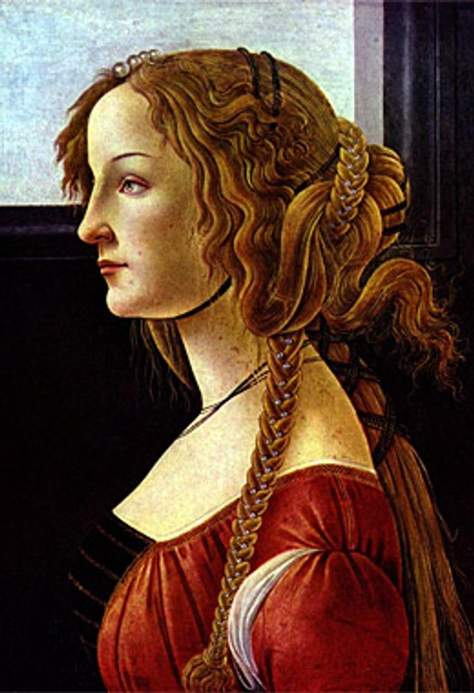 """Сандро Ботичелли """"Портрет Симонетты Веспуччи"""", 1476-1480, Берлин, Gemäldegalerie."""