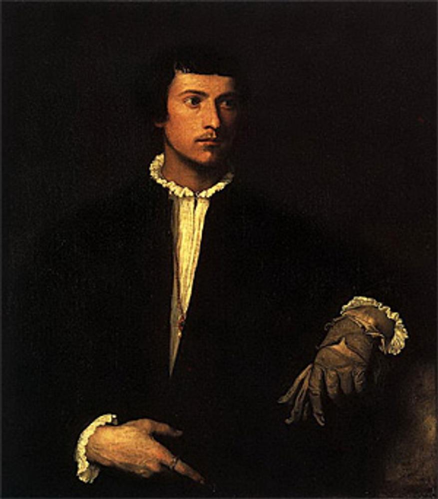 """Тициан Вечеллио да Кадоре. """"Мужчина с перчаткой"""". 1520-1522"""
