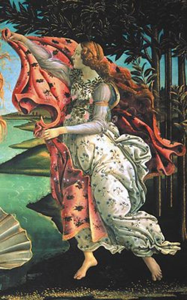 Фото. Фрагмент из правой части картины: Грация несет накидку новорожденной Венере.