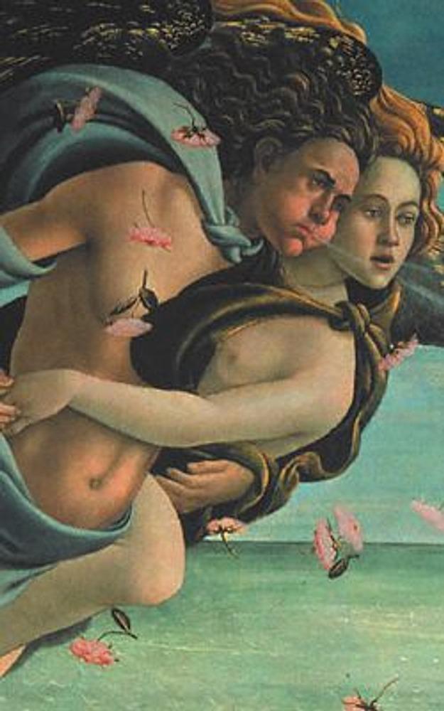 Фото. Фрагмент из левой части картины: ветры - Зефир и Аура - помогают Венере приблизиться к берегу.