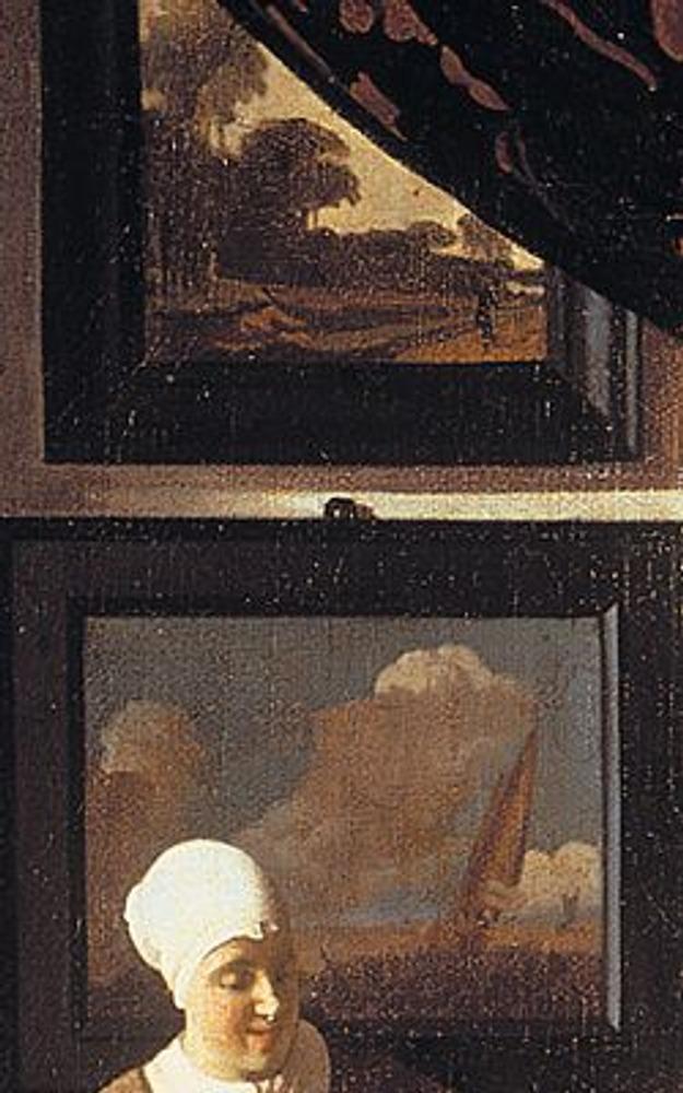 Фото. Фрагмент из верхней части картины: картины с парусником и сельским пейзажем дают почувствовать настроение хозяйки дома.