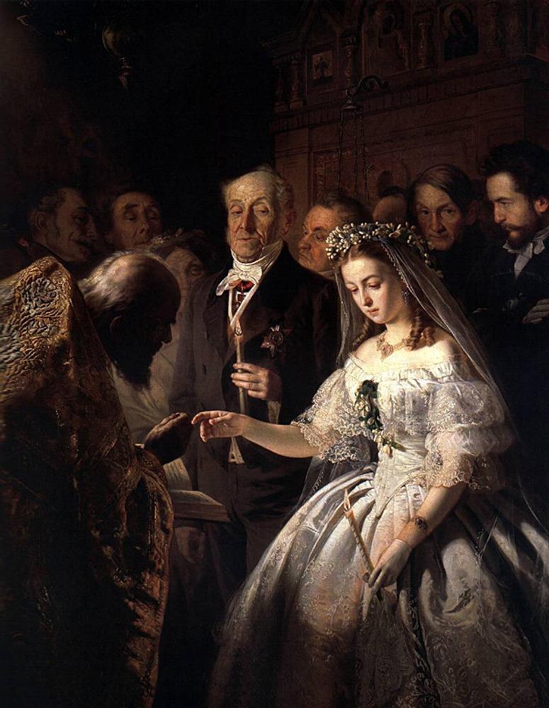 """Пукирев В В. """"Неравный брак"""". 1862. Государственная Третьяковская галерея. Москва."""