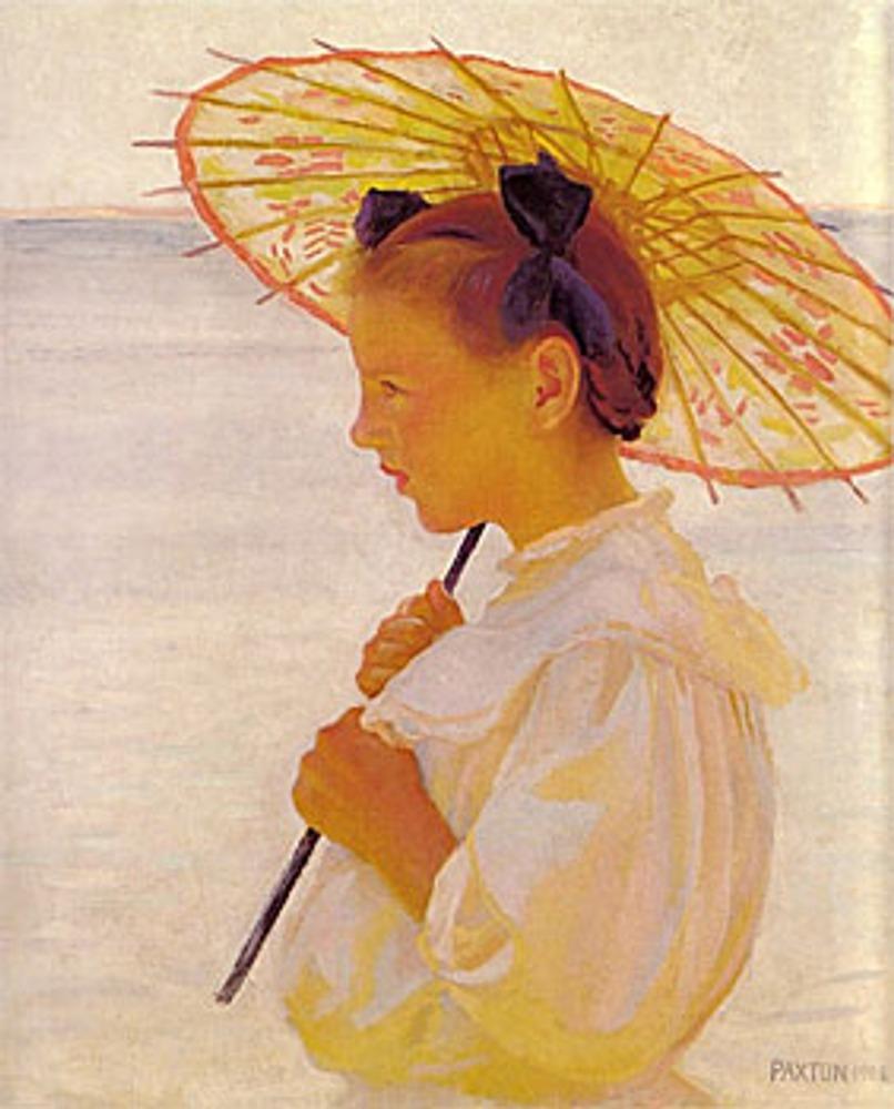 """Вильям Пакстон """"Девочка с китайским зонтиком"""", 1908 г."""