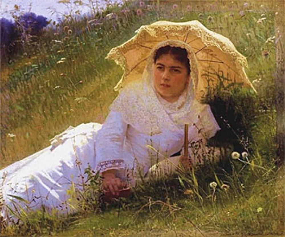 """Иван Крамской """"Женщина под зонтиком (В поле)"""". 1883 г."""