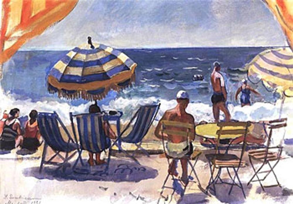 """Зинаида Серебрякова """"Ментона. Пляж с зонтиками"""", 1931."""