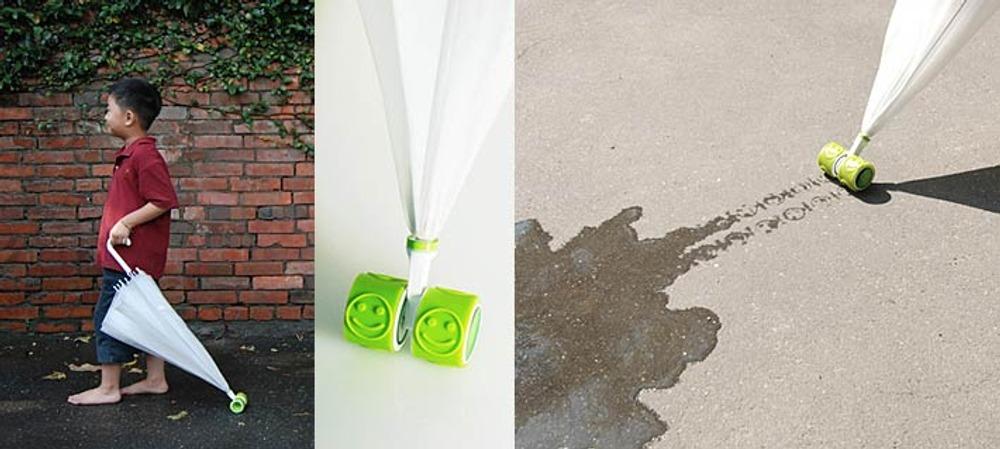 Фото 4. Зонт Wheel&Seal с роликом на кончике зонта от дизайнеров Yu-ting Cheng, Yu-hsun Chung, Shaw-chen Chen.