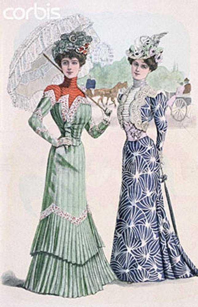 Дамы в нарядных платьях. Страница из дурнала мод. 1900 г.