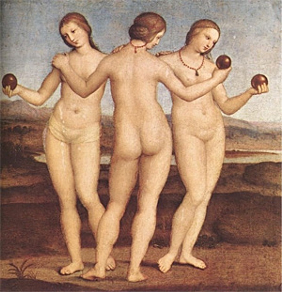 """Фото. """"Три грации"""". Рафаэль Санти, 1504-1505 гг., Галерея Шантильи."""