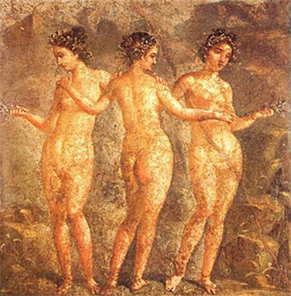 """Фото. """"Три грации"""". Фреска из Помпей, ок. 60 г. до н.э."""