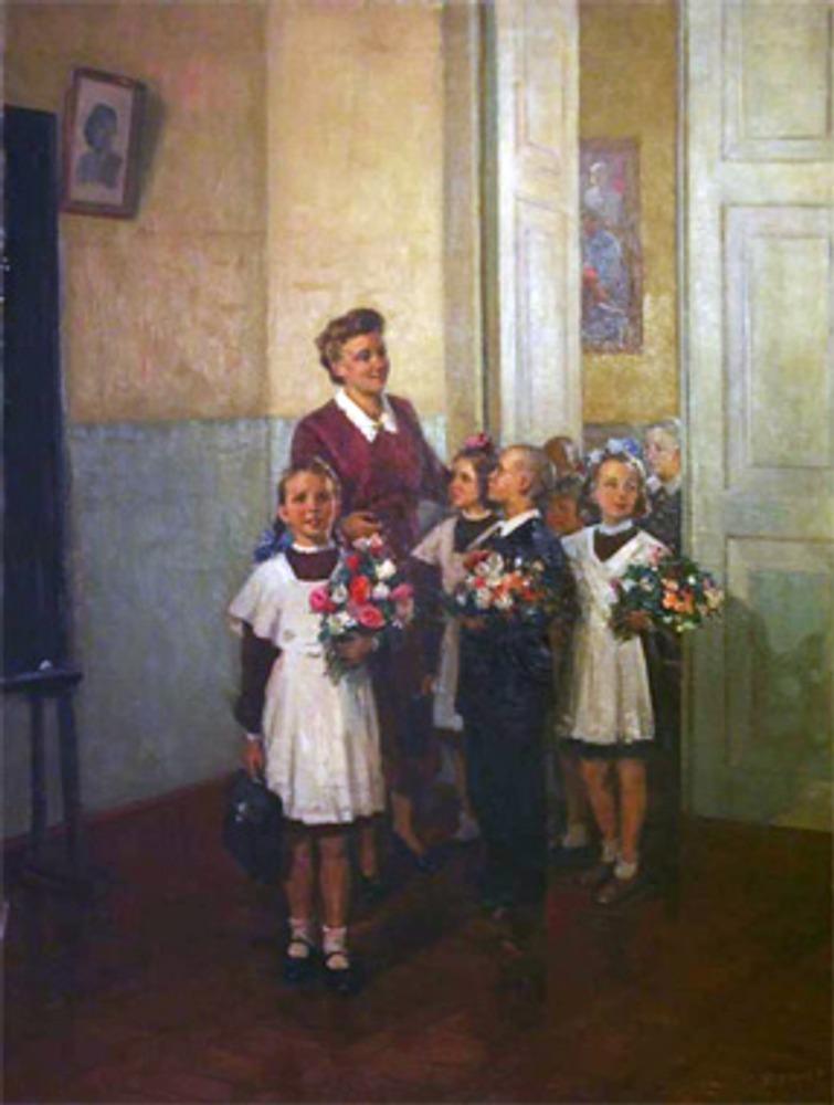 """А. Кержнер """"В первый класс"""", 1950 г."""