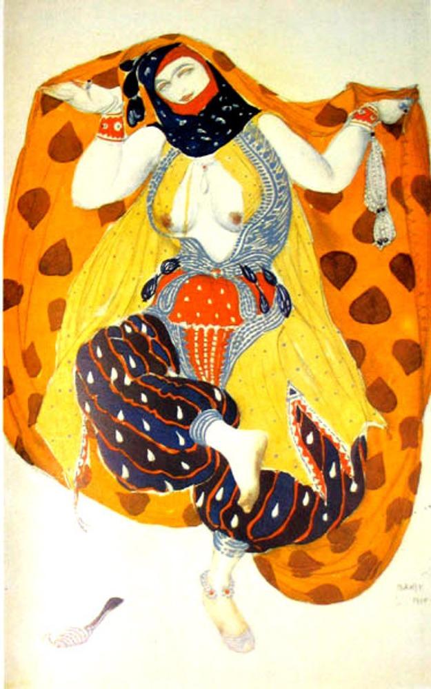 "Фото. Л. Бакст ""Одалиска"". Эскиз костюма к балету ""Шехерезада"" на музыку Н.А. Римского-Корсакова. 1910 г."