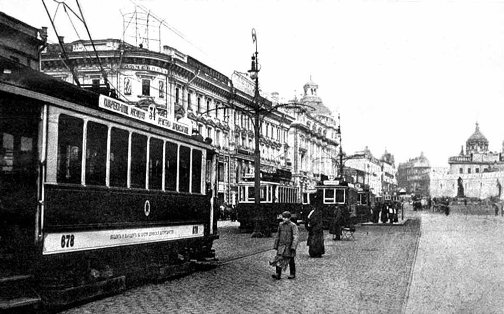 Фото. Лубянская площадь, трамвай 34 маршрута. 1911 г.