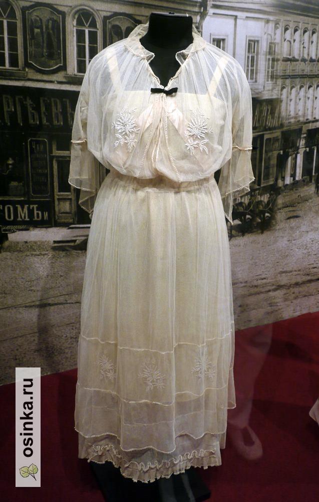 Фото. Платье дамское , тюль, шифон, стеклярус, вышивка. 1910-е гг.