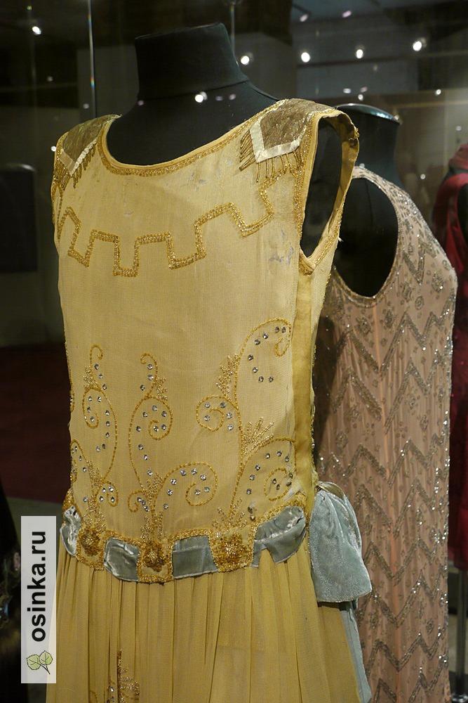 Фото. Платье дамское , крепдешин, шелк, стеклярус, нить металлизированная, 1920-е гг.