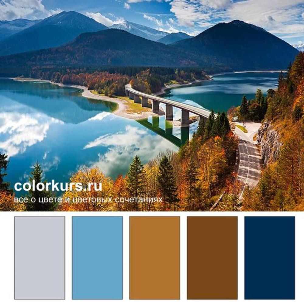 Фото. Осень на Озере Sylvenstein, Германия. Выразительный контраст синего и охры.