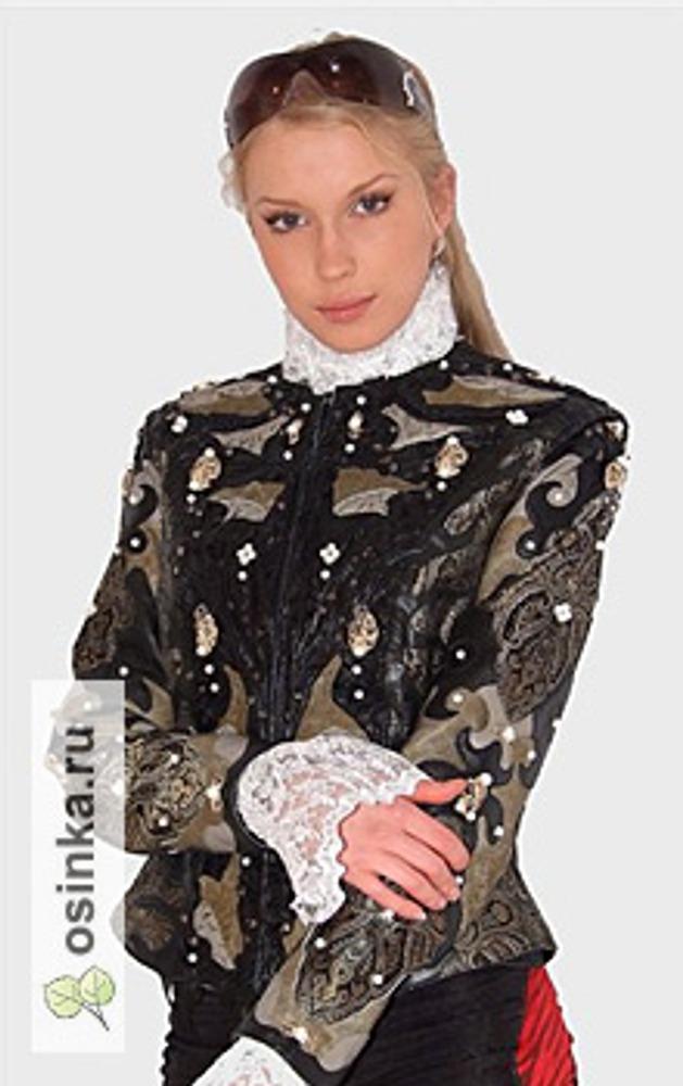 """Фото. Кожаный жакет """"Жемчуг"""", вышивка натуральным жемчугом, роспись, тиснение ручное. Автор - *sofalee*"""