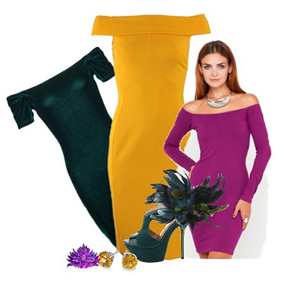 Выкройка платья с открытыми плечами и воротником