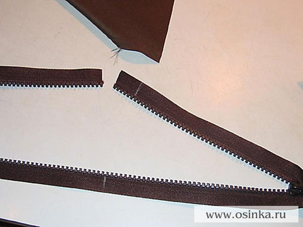 39. Если нужно, укоротить молнию. Наметить нужную длину и обрезать с припуском 1,5 см.